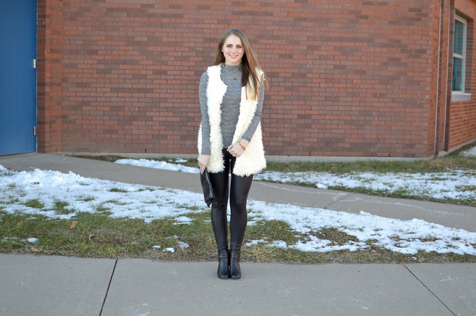 winter outfits with a fur vest