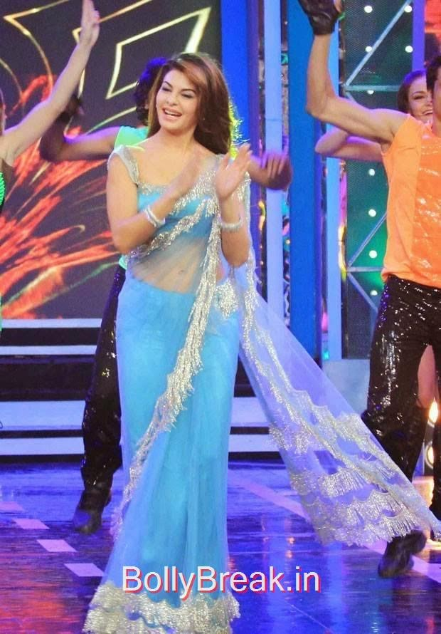 Hindi Actress Jacqueline Fernandez, Jacqueline Fernandez Hot Pics In Blue Saree from Roy Movie Promotions On Big Boss 8