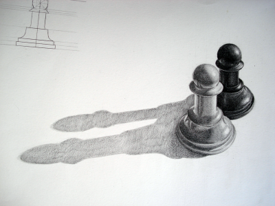 Pencil drawn black and white pawns