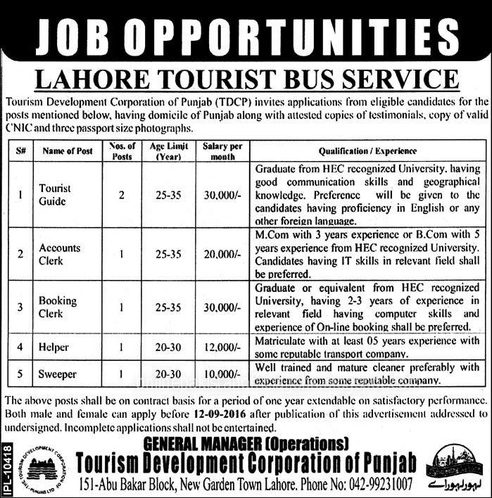TDCP Jobs 2016 Tourism Development Corporation Lahore 2016