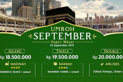 Paket Umroh September 2019 Biaya Murah Promo 18 Juta All in