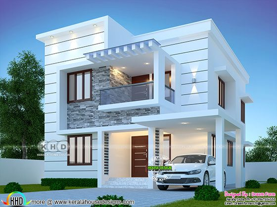 Beautiful rendering of white color modern house