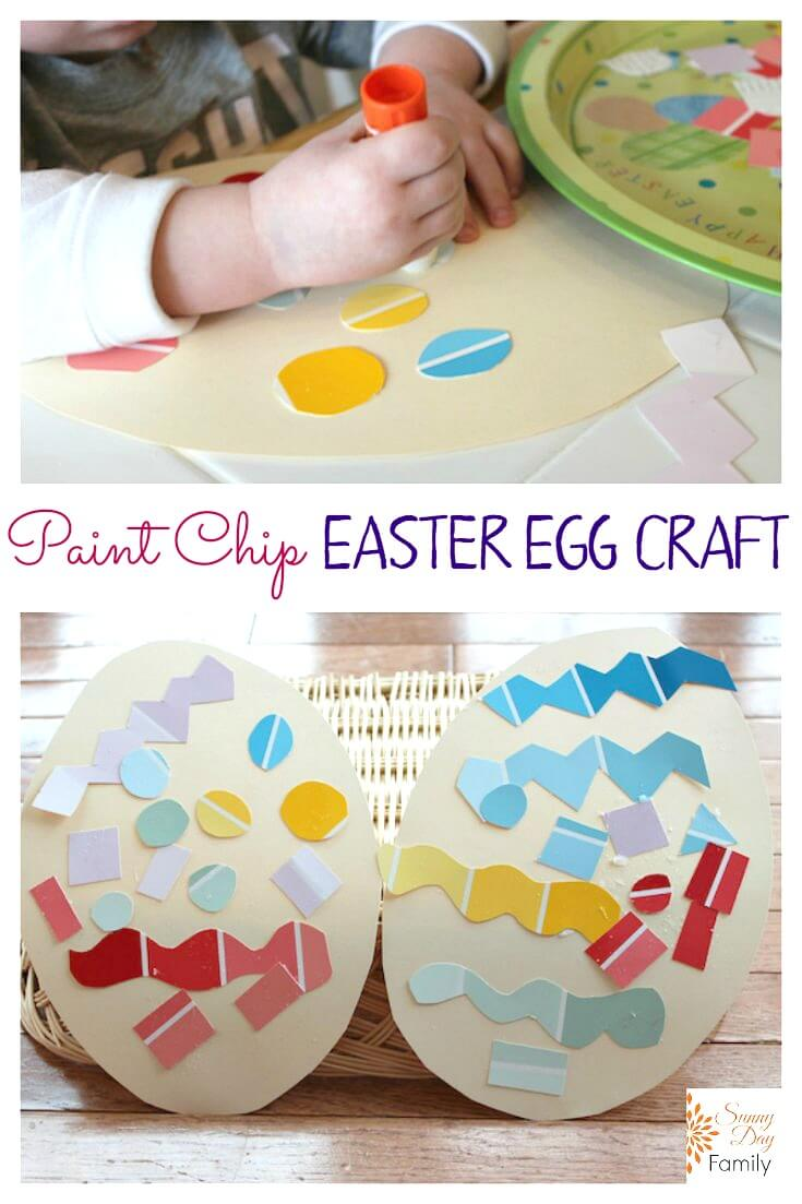 Paint chip Easter eggs! A fun and easy Easter craft for toddlers and preschoolers - recycle paint chips to make a fun Easter egg craft!