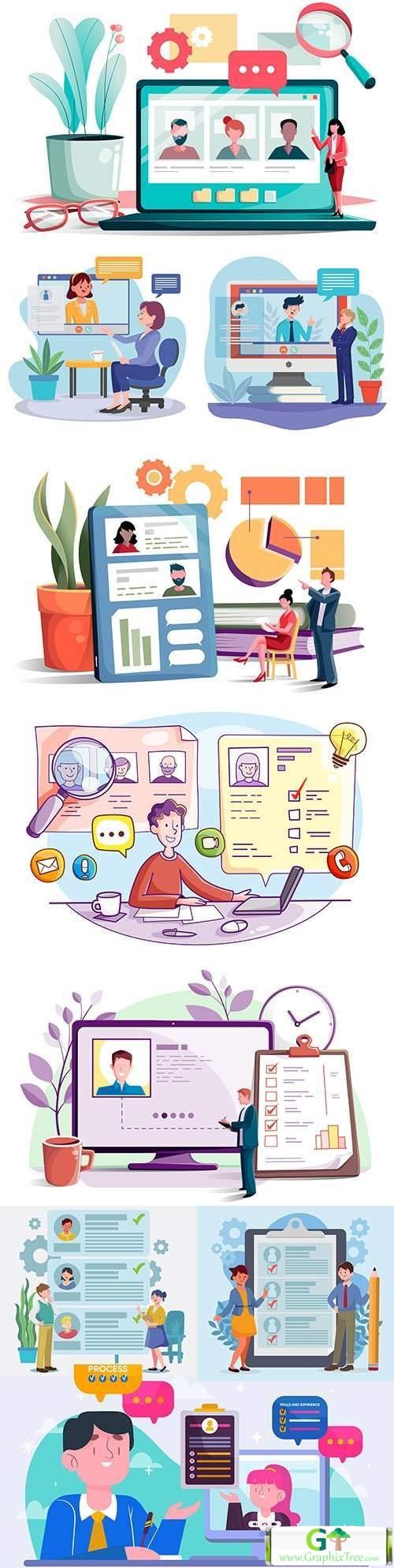 Online interview and hiring flat design illustration