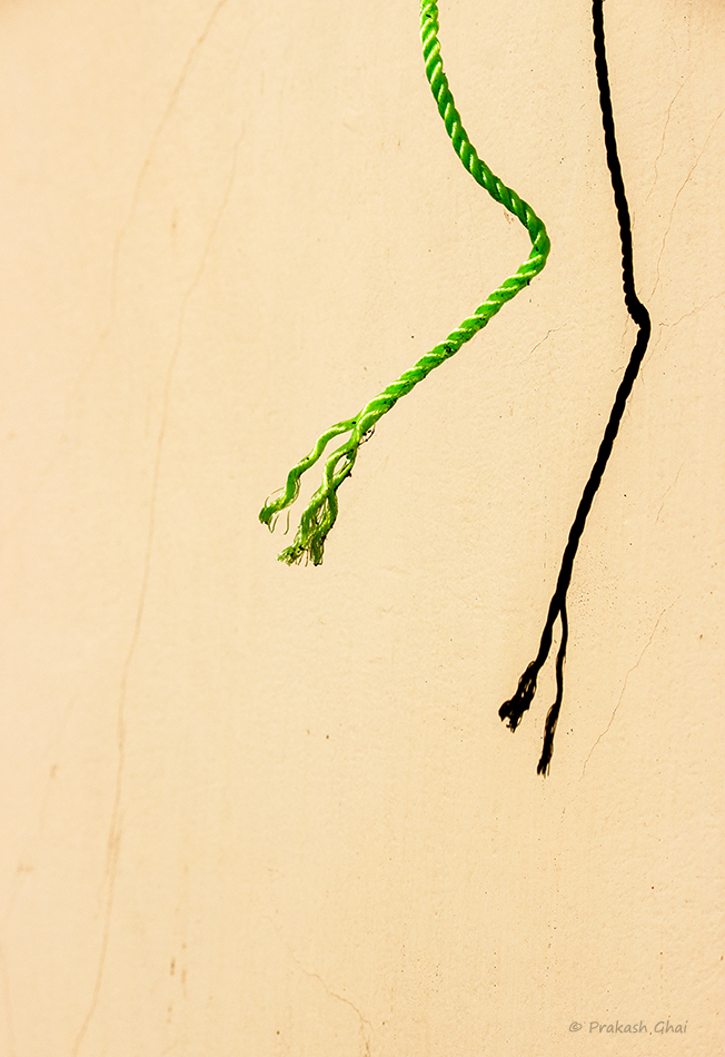A minimalist photo of Loose end of a green rope hanging in the sun against a brown wall