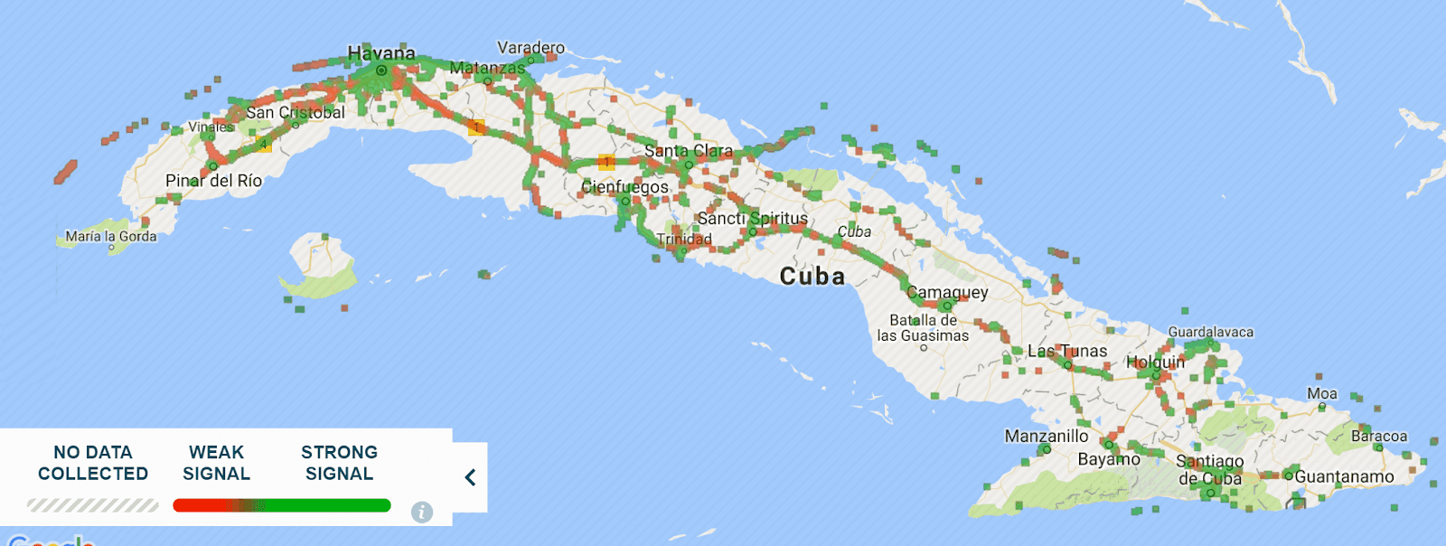The internet in cuba crowdsourced mobile coverage map november 2017 source gumiabroncs Gallery