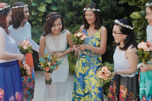 bohemian bridesmaids, colorful entourage, floral crown wedding, liz uy
