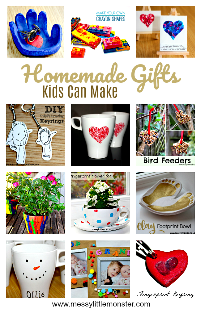 Easy homemade DIY gift ideas kids can make. Simple enough for toddlers and preschoolers and great for Christmas. Mothers Day, Fathers Day or a birthday.  These kid made gifts will be loved by grandparents, mums and dads.