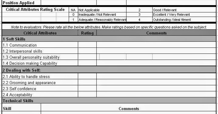 Candidate Evaluation Form in Excel