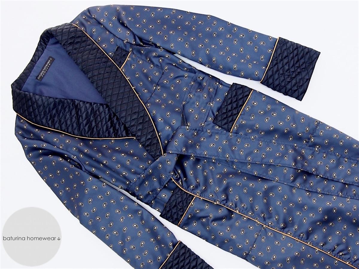 Men\'s Dark Navy Blue Paisley Silk Dressing Gown