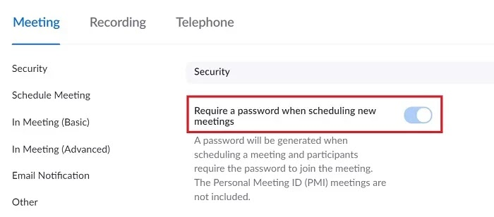 Set a strong password to protect your meetings