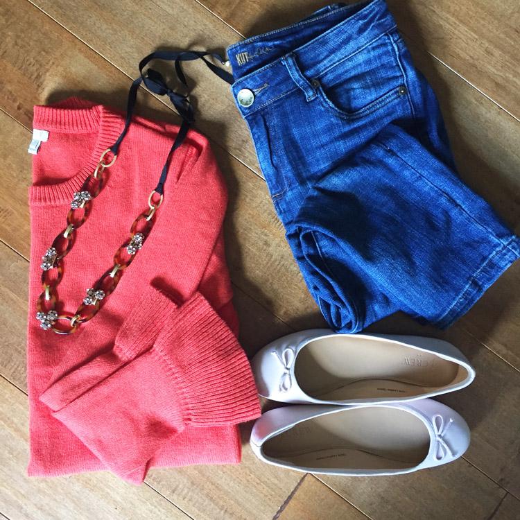 jcrew factory sweater, kut from the kloth jeans, ballet flats