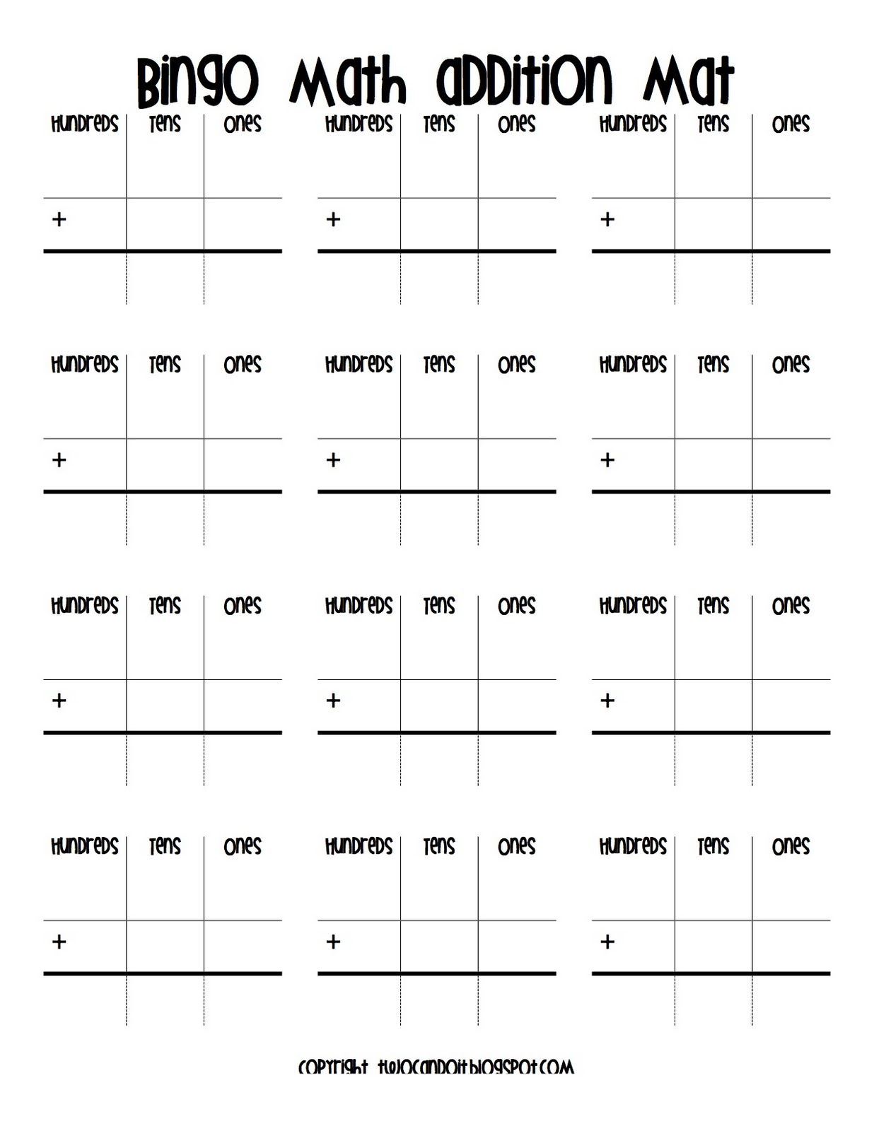 graphic relating to Addition Bingo Printable identified as 2 Can Do It: Bingo All people????