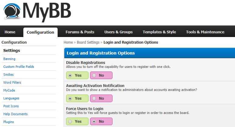 Tắt chức năng đăng ký thành viên diễn đàn MyBB