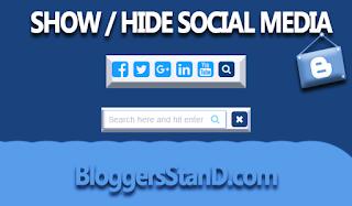 Kotak Pencarian Show Hide plus Link Media Sosial