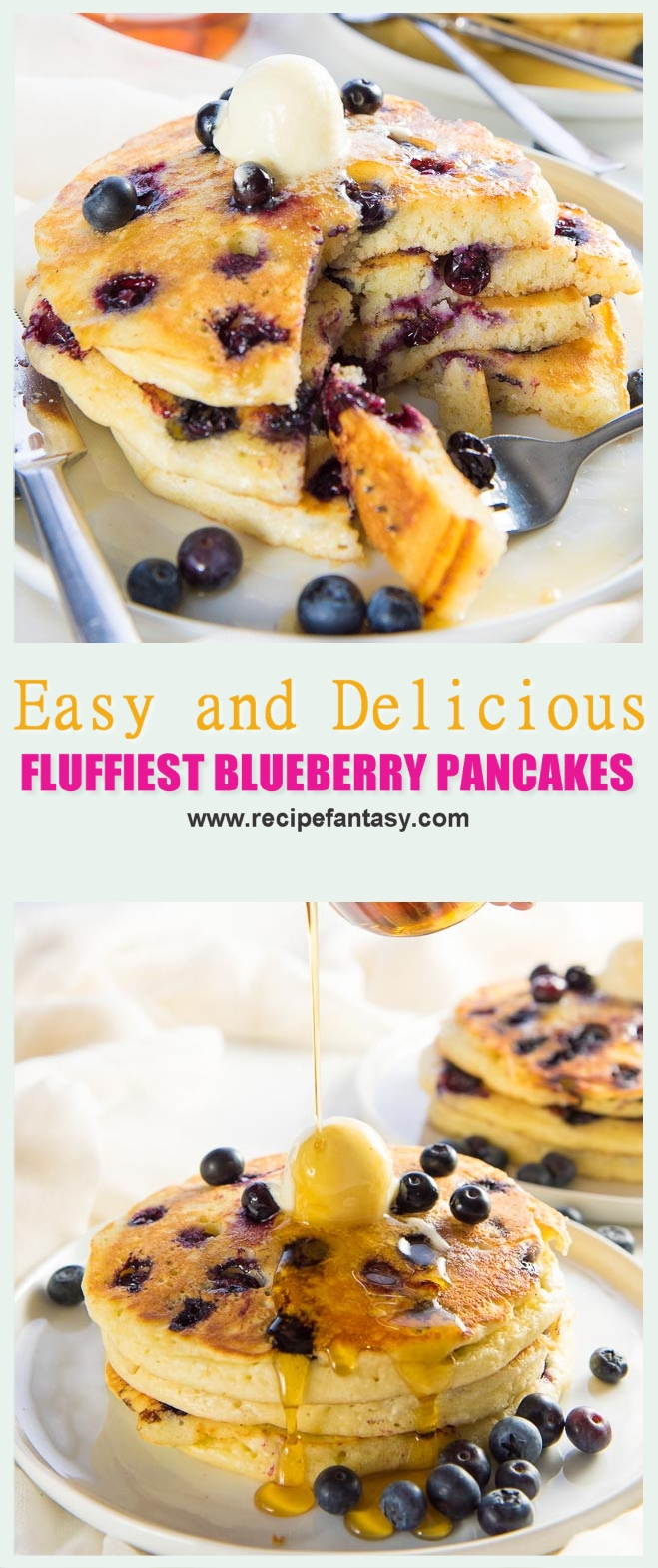 Easy and Delicious FLUFFIEST BLUEBERRY PANCAKES
