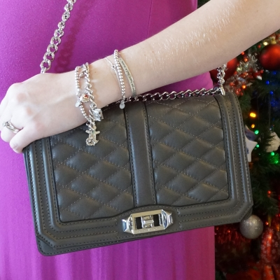 AwayFromTheBlue | Rebecca Minkoff Love cross body bag in grey silver tiffany charm bracelet stack