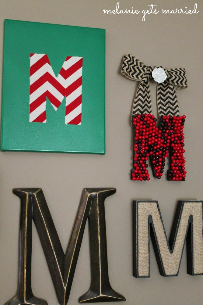 Making It In The Mitten Christmas Themed Initial Wall Collage