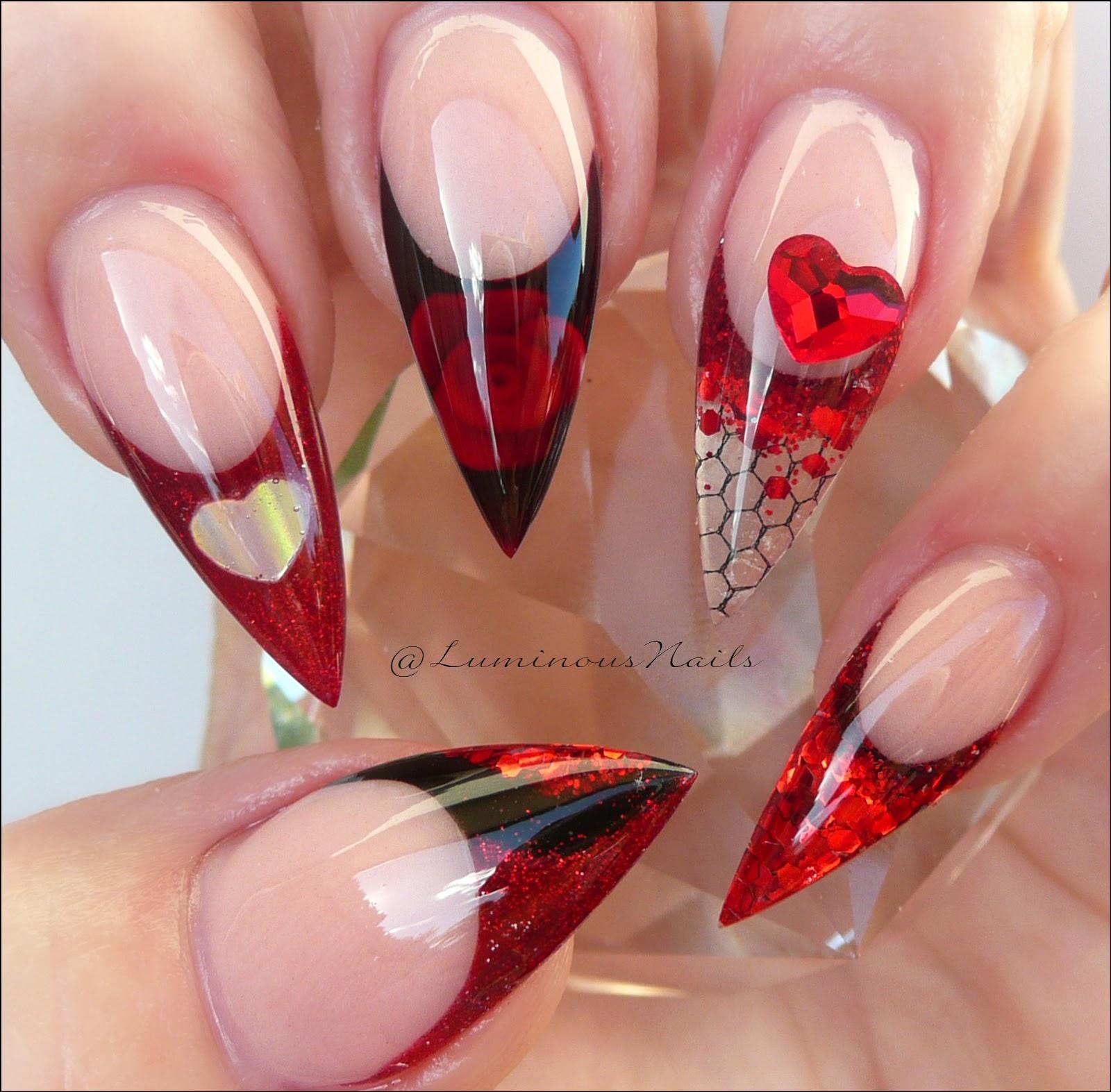 Valentines Inspired Acrylic Nails Sculptured Gold Coast Australia