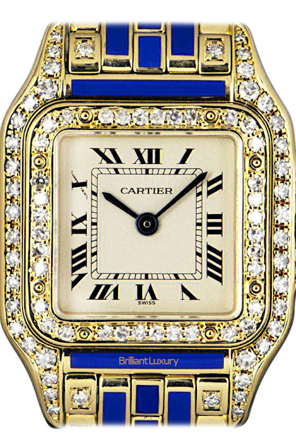 Brilliant Luxury♦Cartier Panthère Ladies Gold Silver Dial Blue Enamel and Diamond Set Wristwatch