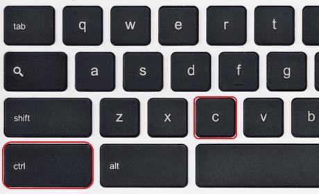 keyboard shortcut copy text chromebook