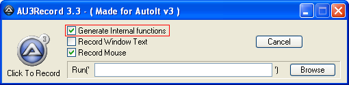 AutoIt Recorder SciTE Menu Screen - Generate Internal functions Option