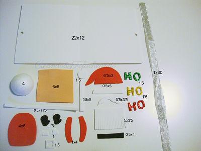 Estas son las piezas y medidas para hacer a papa noel en la tarjeta de goma eva