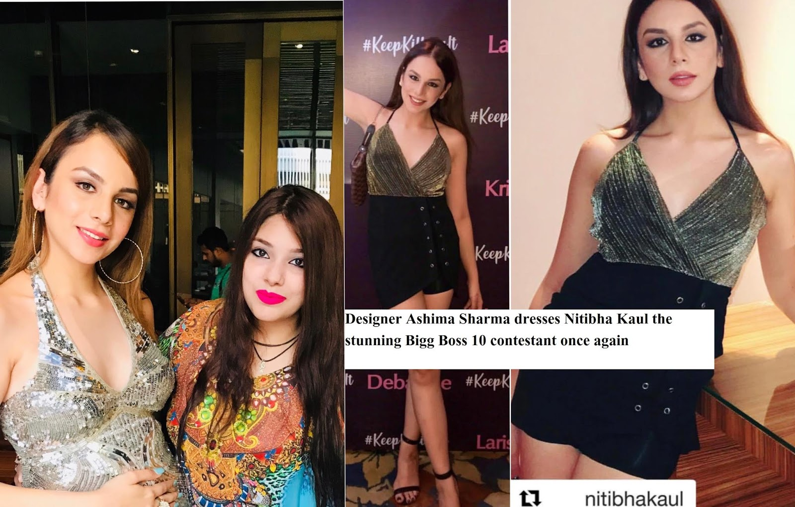 Nitibha Kaul Bigg Boss Mtv Dare To Date Sensation Dressed In Ashima Sharma S Brand Ashima S Couture S Outfit Once Again