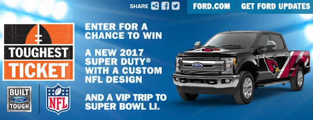 Ford Motor Company is giving away a VIP Trip to Super Bowl LI, complete with a brand new 2017 Super Duty with your favorite NFL team's custom design!