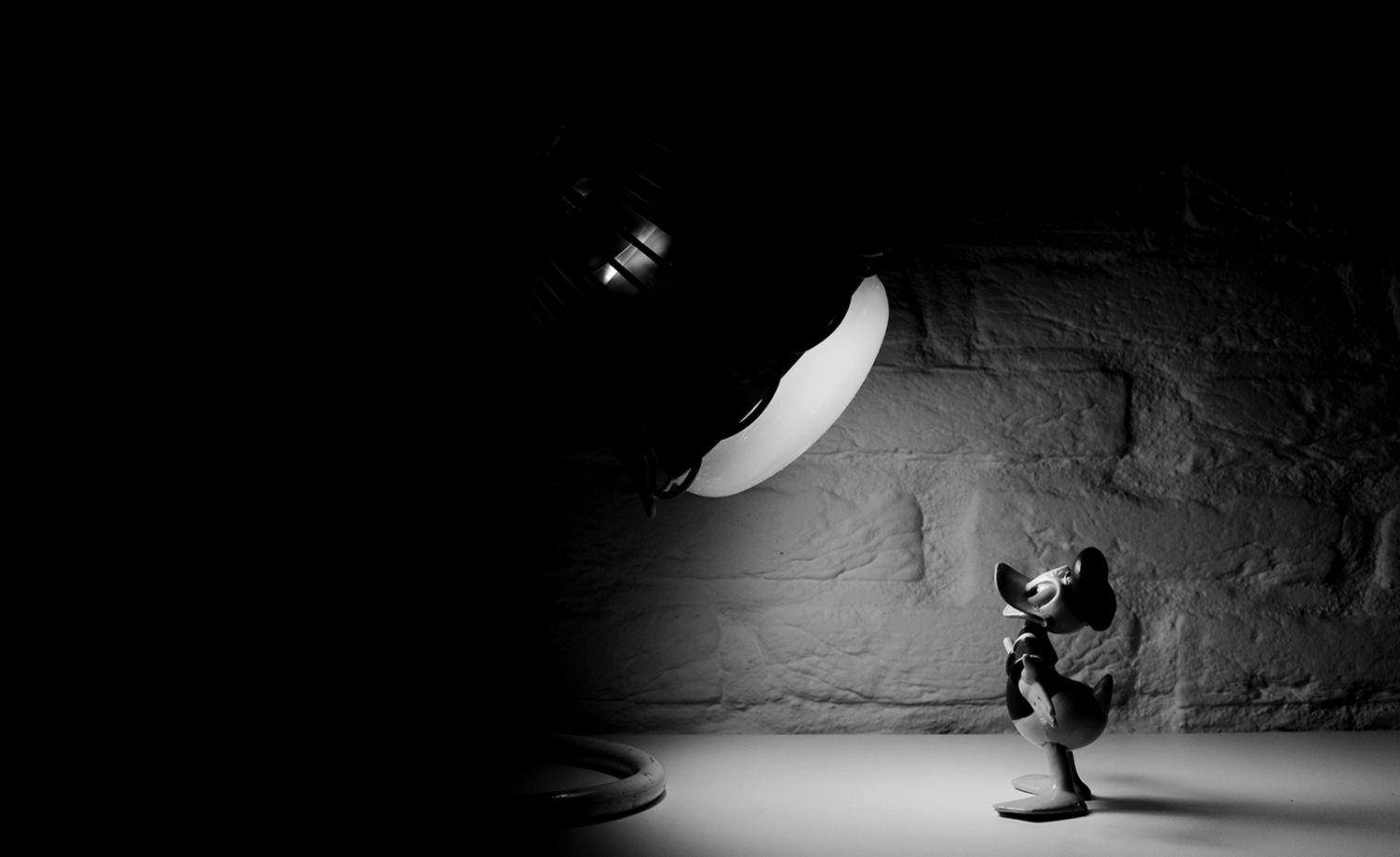 Black And White Cartoon Donald Duck Spotlight Hd Grayscale