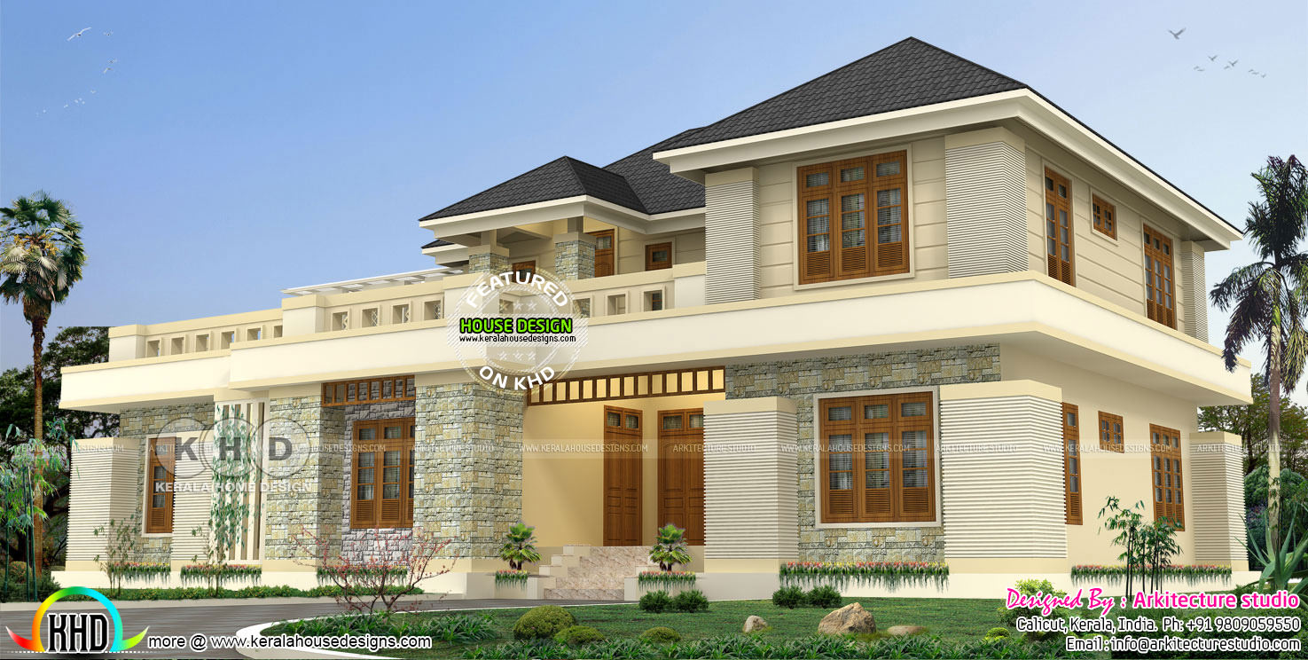 3500 square feet 4 bedroom modern house plan - Kerala home ...