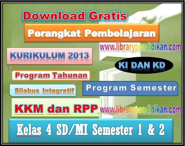 Perangkat Pembelajaran Kurikulum 2013 Kelas 4 SD/MI KI, KD, Prota, Promes, Silabus, KKM dan RPP Lengkap