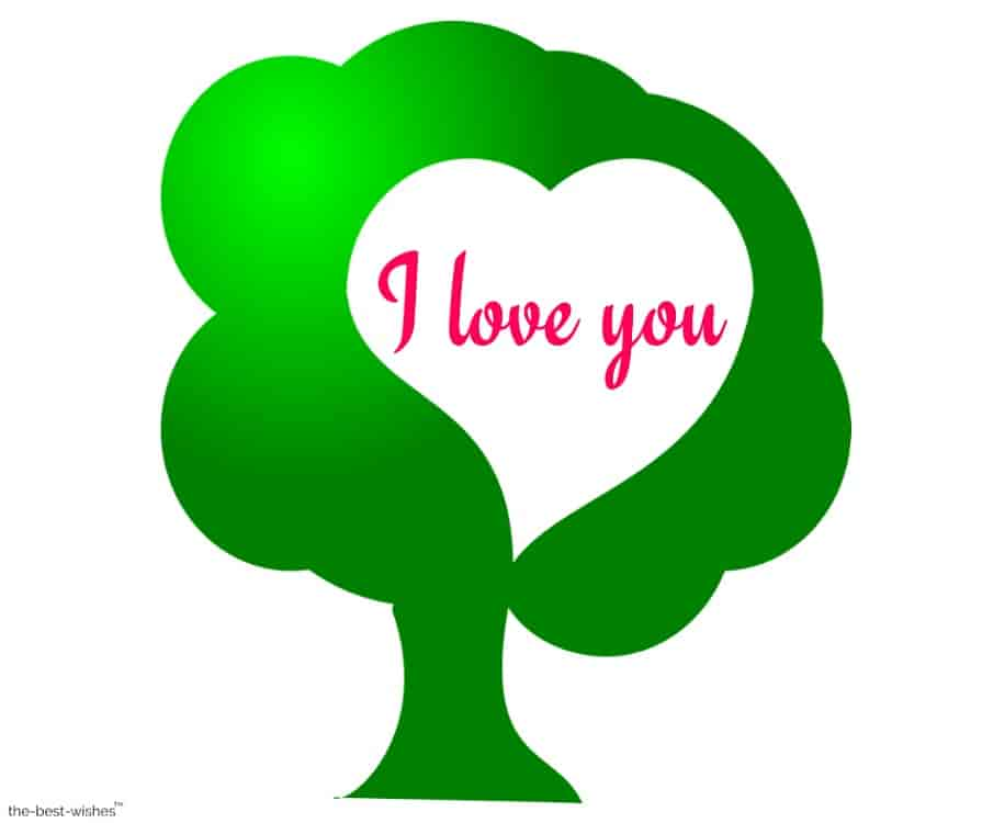 i love you with heart tree