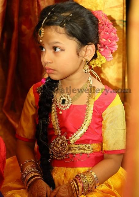 Little Girl In Kasu Mala Jewellery Designs