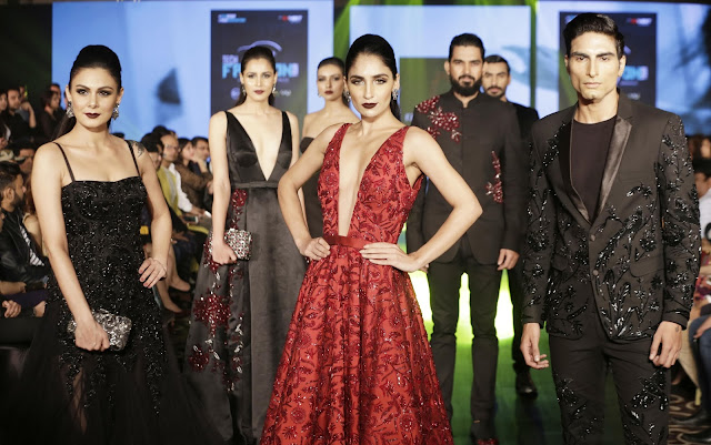 Models walking the ramp for Designer Rajat Tangri at Beetle's Tech Fashion Tour 2016