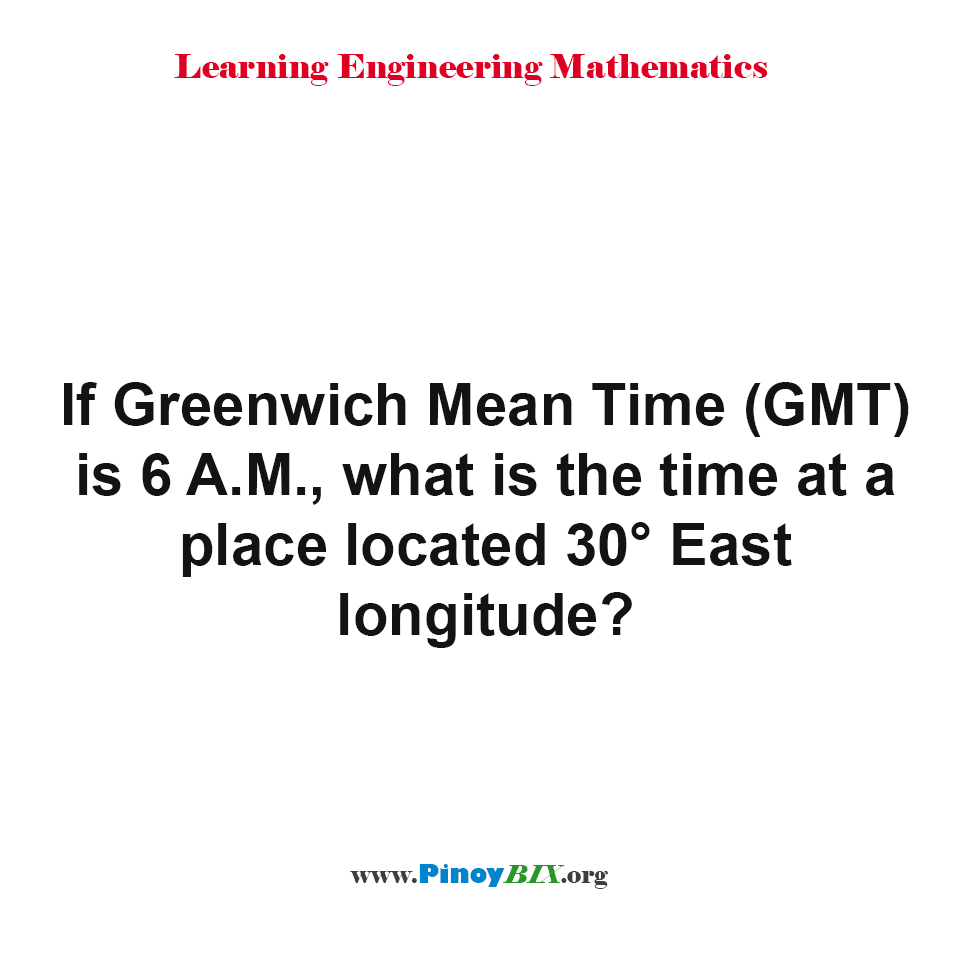 What is the time at a place located 30° East longitude?