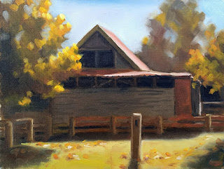Oil painting of a shed with a gabled roof, a rail fence and several trees.