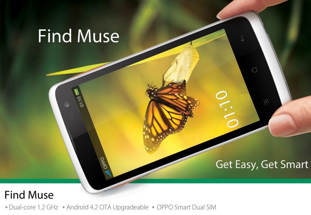 Spesifikasi dan harga  Oppo Find Muse Smartphone dengan Slot microSd up to 32 GB