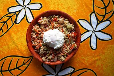Salade de boulgour et son oeuf poché
