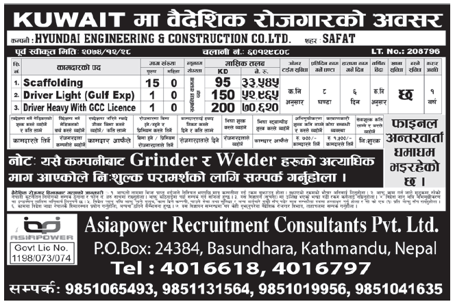 Jobs in Kuwait for Nepali, Salary Rs 70,620