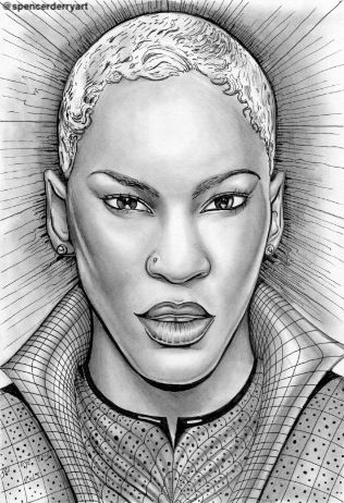 Liv Warfield - Pencil Art Drawing by Spencer J. Derry