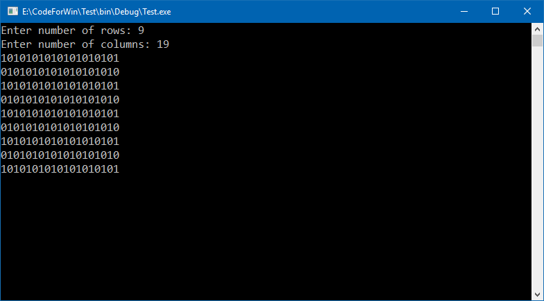 C program to print chessboard number pattern
