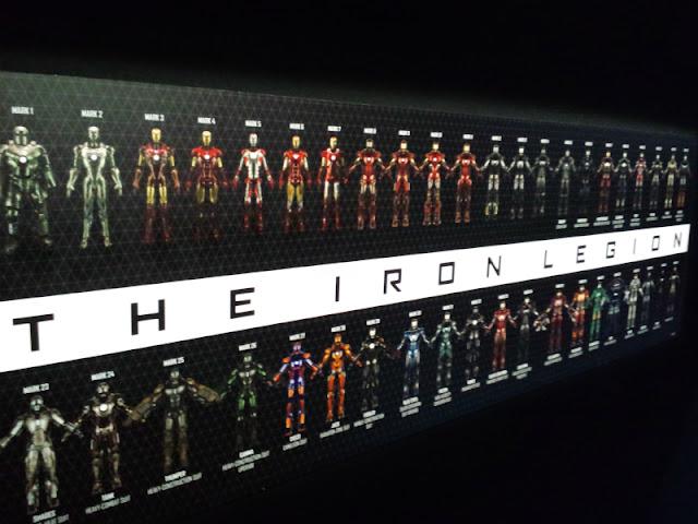 マーベル展で展示されていたアイアンマン軍団の写真です。