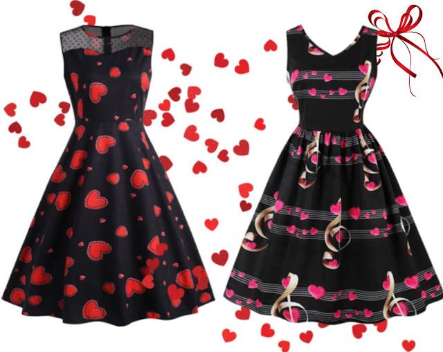 walentynki, sukienka, serca, czarna sukienka