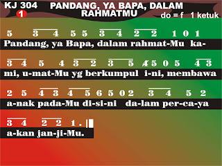 Lirik dan Not Kidung Jemaat 304 Pandang, Ya Bapa, Dalam RahmatMu