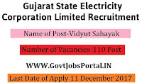Gujarat State Electricity Corporation Recruitment 2017– 110 Vidyut Sahayak