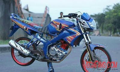 Foto Modifikasi Motor Vixion Thailook Biru