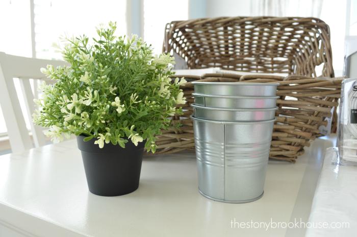 faux plant and pots