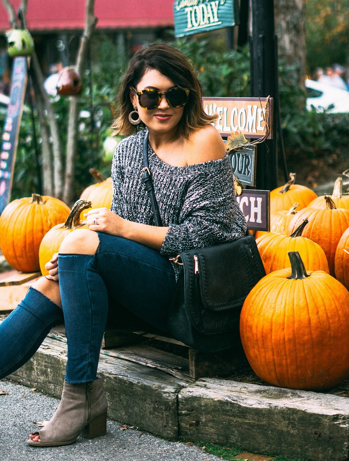 shein, off the shoulder sweater, rebecca minkoff saddlebag, peeptoe booties, lash extensions, blowing rock nc