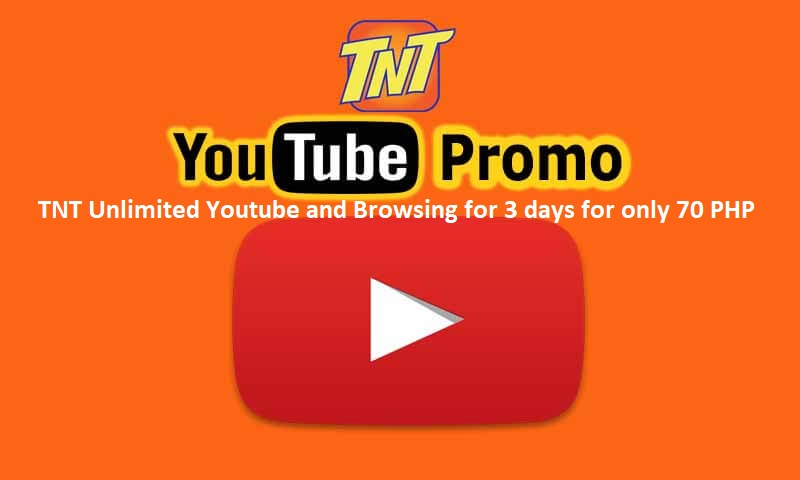 TNT Unlimited Youtube and Browsing for 3 days for only 70 PHP | Pinoytut